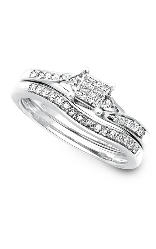 Beautiful Bride Quad Princess-Cut Diamond Bridal Set in White Gold, 1/4ctw product image