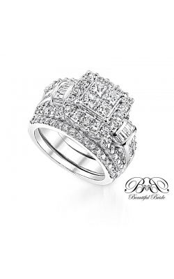 Beautiful Bride Quad Princess-Cut Halo Diamond Bridal Set In 14K White Gold, 3ctw product image