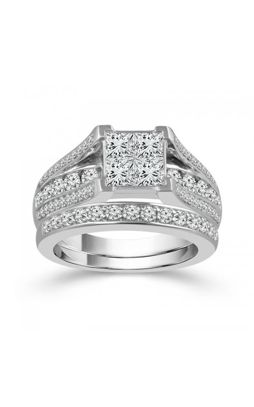 Beautiful Bride Quad Princess-Cut Diamond Bridal Set in 14K White Gold, 3ctw product image