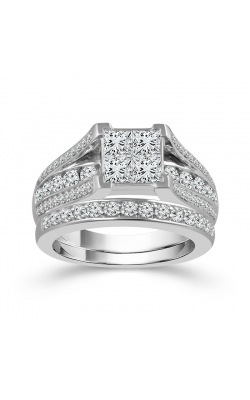 Beautiful Bride Quad Princess-Cut Diamond Bridal Set In 14K White Gold, 3ctw product image