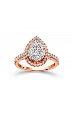 Beautiful Bride Diamond Pear-Shaped Cluster Halo Engagement Ring In Rose Gold, 1ctw product image