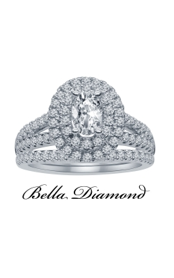 Bella Oval Diamond Double Halo Bridal Set in 14K White Gold, 1ctw product image