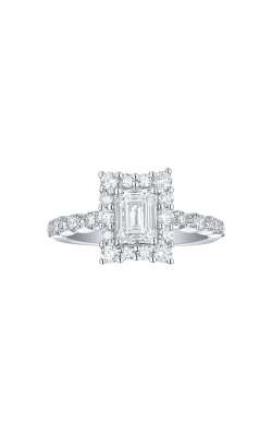 FLASHPOINT CREATED EMERALD DIAMOND HALO ENGAGEMENT RING, 14KWG, 1 1/2CTW product image