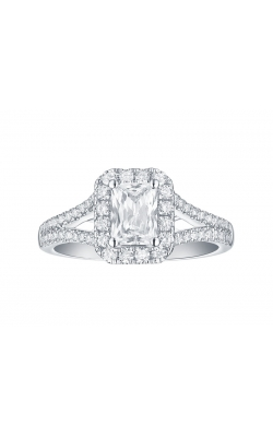 FLASHPOINT CREATED EMERALD DIAMOND HALO ENGAGEMENT RING WITH A SPLIT SHANK, 14KWG, 1 1/2CTW product image
