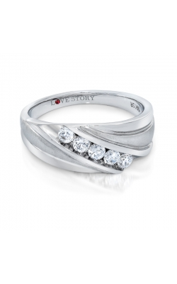 Love Story Five Stone Diamond Men's Band in 14K White Gold, 1/2ctw product image