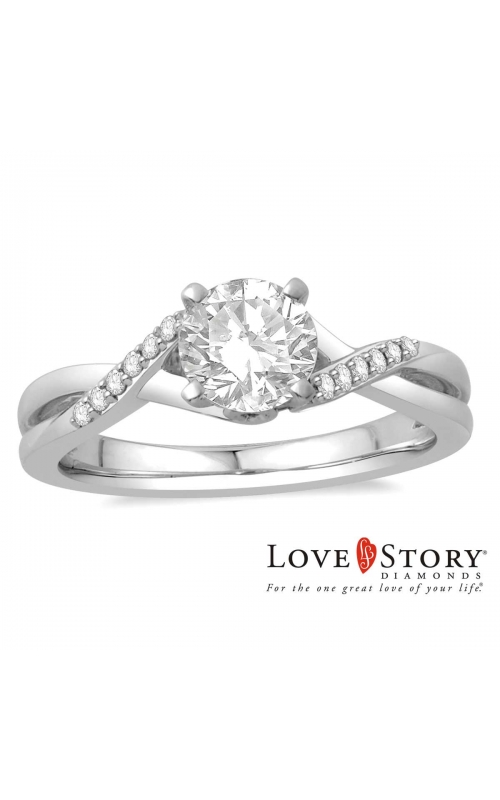 Love Story Diamond Engagement Semi-Mount in 14k White Gold, 1/10ctw product image