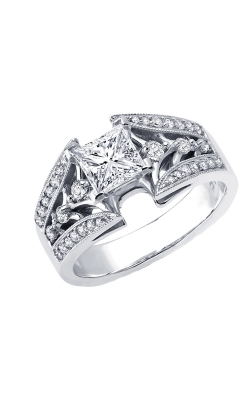 Love Story Princess-Cut Diamond Semi-Mount Engagement Ring In 14k White Gold, 3/8ctw product image