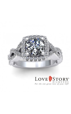 Love Story Twisting Diamond Engagement Semi-Mount In 14K White Gold, 5/8ctw product image
