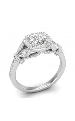 Love Story Halo Cushion Diamond Engagement Semi-Mount In 14K White Gold, 1/2ctw product image