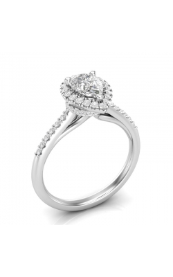 Love Story Halo Pear-Shaped Diamond Engagement Semi-Mount In 14K White Gold, 1/3ctw product image