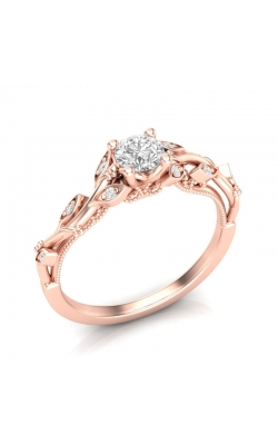 Love Story Vintage-Style Diamond Engagement Semi-Mount In 14k Rose Gold, 1/20ctw product image
