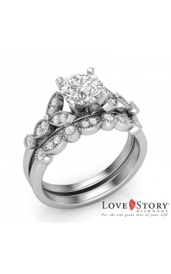 Love Story Vintage-Style Scalloped Diamond Semi-Mount Bridal Set In 14K White Gold, 1/4ctw product image