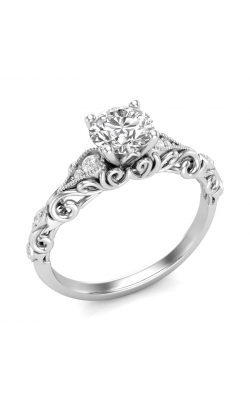 Love Story Vintage-Style Diamond Engagement Semi-Mount In 14k White Gold, 1/10ctw product image