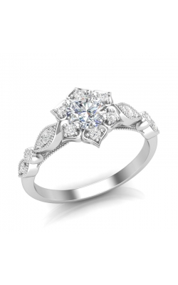 Love Story Flower Frame Diamond Engagement Semi-Mount in 14k White Gold, 1/8ctw product image