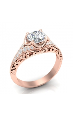 Love Story Vintage-Style Diamond Engagement Semi-Mount In 14k Rose Gold, 1/5ctw product image