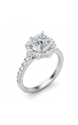 Love Story Flower Halo Diamond Engagement Semi-Mount in 14K White Gold, 5/8ctw product image