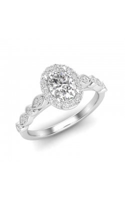 Love Story Oval Diamond Engagement Semi-Mount In 14k White Gold, 1/4ctw product image