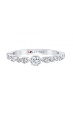 Love Story Vintage-Style Diamond Band in 14K White Gold, 1/5ctw product image