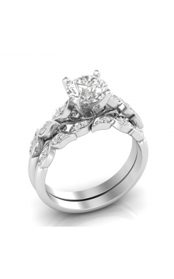 Love Story Vintage-Style Diamond Semi-Mount Bridal Set In 14K White Gold, 1/8ctw product image