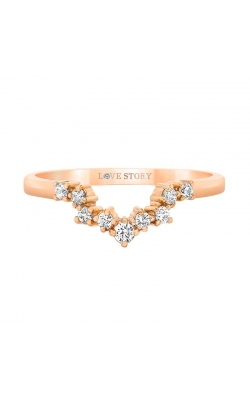 Love Story Diamond Chevron Vintage-Style Band in 14K Rose Gold, 1/8ctw product image