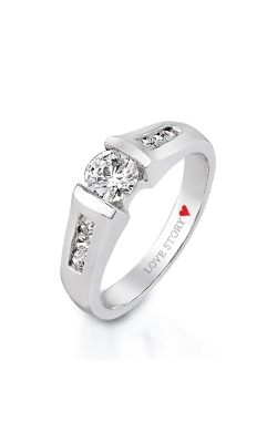 Love Story Tension Set Diamond Engagement Ring In 14K White Gold, 3/8ctw product image