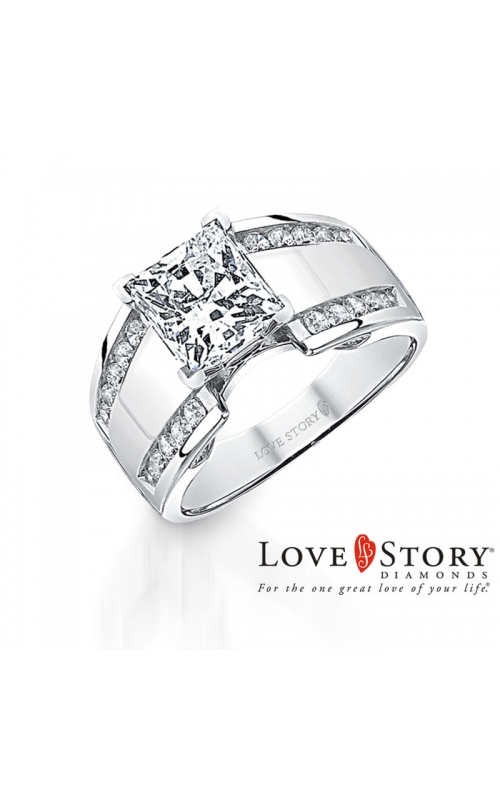 Love Story Princess-Cut Diamond Semi-Mount Engagement Ring in 14K White Gold, 1/2ctw product image