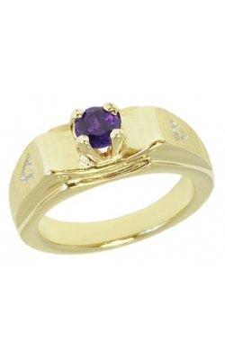 February (Amethyst) Mini Memory Ring Charm (Boy/Yellow Gold) product image