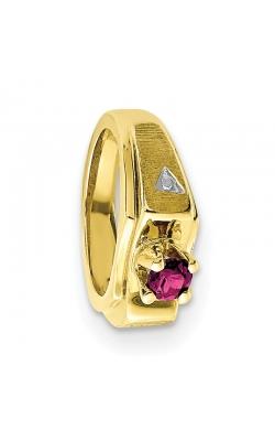 October (Pink Tourmaline) Mini Memory Ring Charm (Boy/Yellow Gold) product image