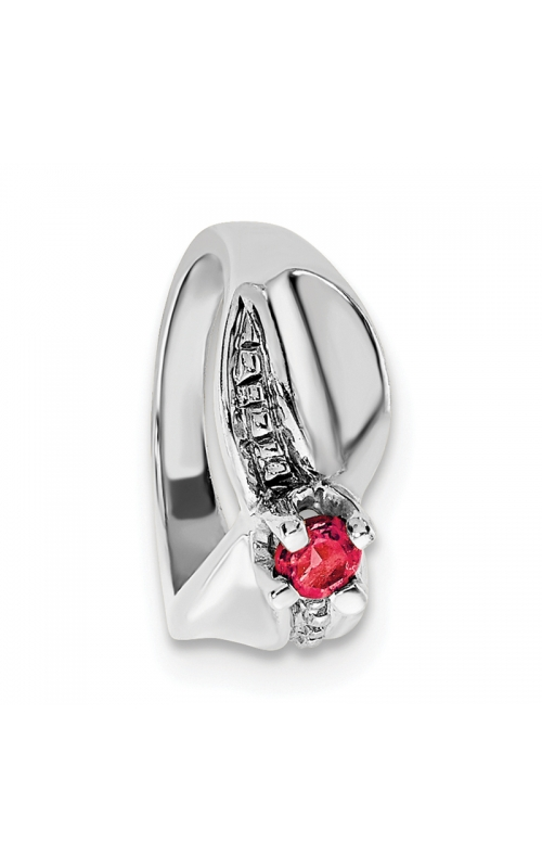 July (Ruby) Mini Memory Ring Charm (Girl/White Gold) product image