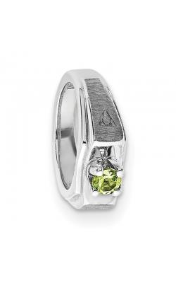 August (Peridot) Mini Memory Ring Charm (Boy/White Gold) product image