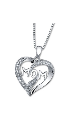 Mom Heart Diamond Pendant in Sterling Silver, 1/20ctw product image