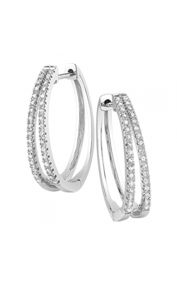 Double Hoop Diamond Earrings in White Gold, 1/4ctw product image