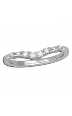 Round And Baguette Diamond Chevron Anniversary Band In 14K White Gold, 1/8ctw product image