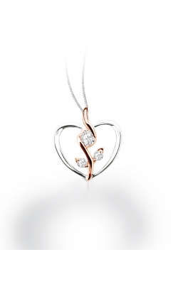 Sirena Rose and Heart Pendant in Two-Tone Gold, 1/8ctw product image