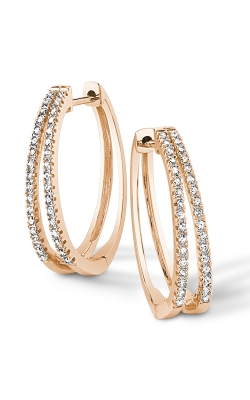 Double Hoop Diamond Earrings in Yellow Gold, 1/4ctw product image