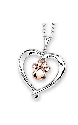 Kissing Hearts Paw Pendant in Two-Tone Sterling Silver product image