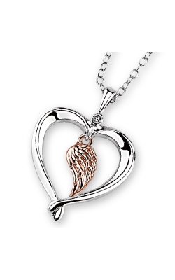 Kissing Hearts Angel Wing Pendant in Two-Tone Sterling Silver product image