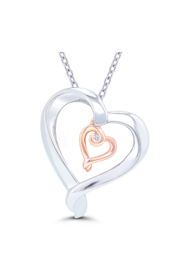 Kissing Hearts Double Heart Diamond Solitaire Pendant in Two-Tone Sterling Silver product image