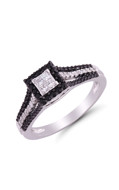 Quad Princess-Cut Black & White Diamond Engagement Ring in White Gold, 1/2ctw product image
