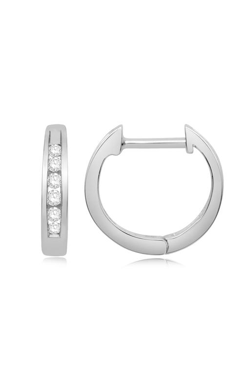 Huggie Channel Set Diamond Hoop Earrings in White Gold, 1/10ctw product image