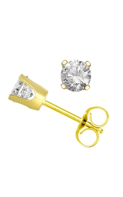 Classic Round Diamond Solitaire Stud Earrings In Yellow Gold, 1/8ctw product image