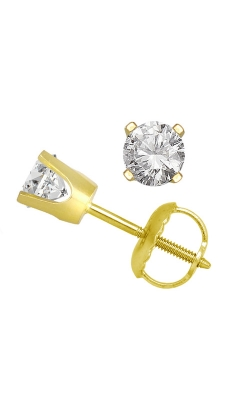 Classic Round Diamond Solitaire Stud Earrings In 14K Yellow Gold, 1ctw product image