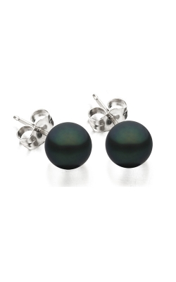 7 - 7.5mm Black Freshwater Pearl Earrings in 14K White Gold product image