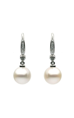 8-9mm White Freshwater Pearl and Diamond Dangle Earrings product image