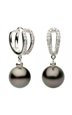 9-9.5mm Tahitian Pearl and Diamond Earrings in 18k White Gold product image