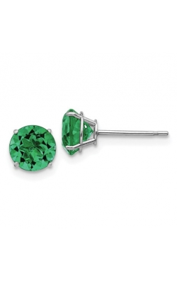 Created Emerald Stud Earrings In 14K White Gold product image