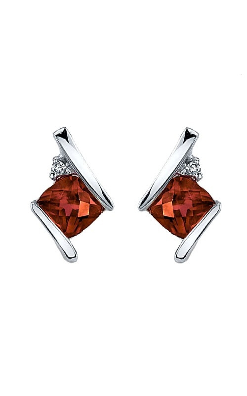 Garnet and Diamond Earrings in Sterling Silver product image