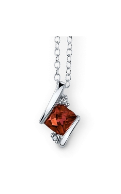 Garnet And Diamond Pendant In Sterling Silver product image