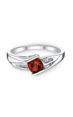 Garnet And Diamond Ring In Sterling Silver product image