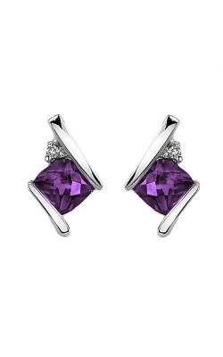 Amethyst And Diamond Earrings In Sterling Silver product image